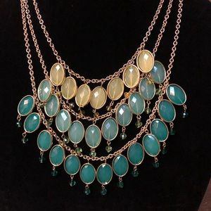 2/$20 Teal Ocean Blue yellow layered necklace